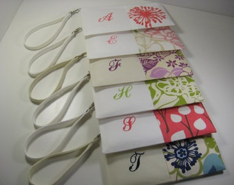 Set of 9 - Embroidered Clutches - Monogrammed Clutch - Personalized - Zipper Pouch - Bridesmaid Gift - Your Choice - Made To Order