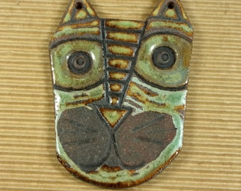 Scrappie Ceramic Cat Face Pendant, Stoneware Clay, Multi-glazed, One of a Kind, Great for Wearing, Sharing or Hanging on a Tree or a Wall