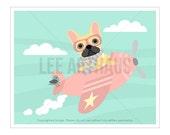 41G Dog Print - French Bulldog Flying Pink Airplane Wall Art - Pink Nursery Wall Art - French Bulldog Print - Pink Airplane Print - Dog Art