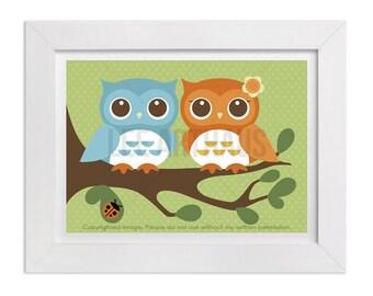 149 Baby Owls Nursery Print - Pair of Owls in Tree Wall Art - Woodland Theme Nursery Print - Boy and Girl Twin Owls Art - Cute Owls Print