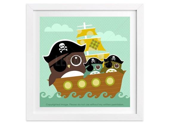 109 Pirate Wall Art - Pirate Owls Wall Art - Baby Boy Nursery - Nautical Nursery Decor - Owl Room Decor - Pirate Print - Pirate Art