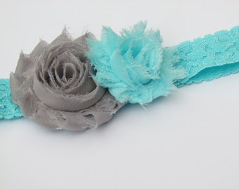 Aqua Lace Elastic Headband with Gray and Aqua Chiffon Frayed Shabby Chic Hair Flowers - girl toddler 18 months to age 5 - Ready to Ship