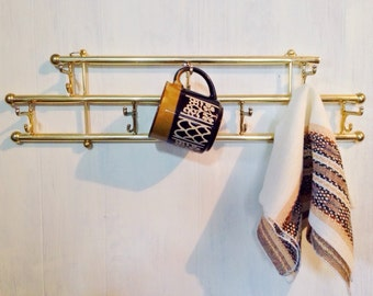 vintage wall rack - brass storage rack with hooks