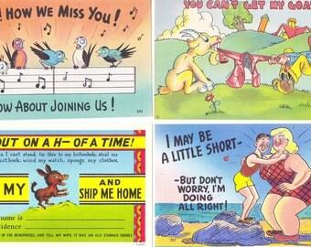 Linen Postcards - Set of Four - Humorous Lot 3