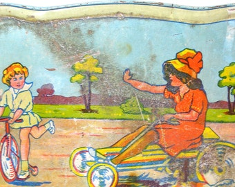 1930's Tin Toy Tea Tray, Art Deco children on bikes, go cart.
