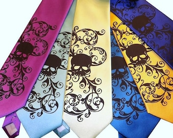 3 Mens wedding skull ties,  -  Mens necktie custom colors - print to order