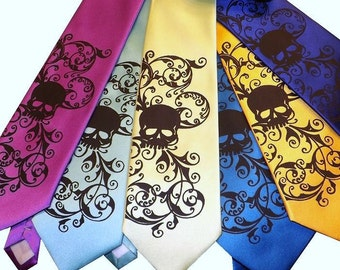 RokGear Skull necktie print - 3 Mens microfiber wedding skull ties