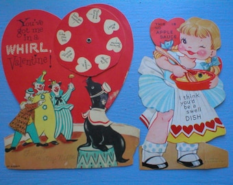 Valentine Cards Mechanical Diecut Circus Clowns Cutie Cooking Ameri Card Vintage Valentines