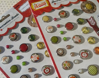 Carta Bella Decorative Brads - A Perfect Autumn - Scrapbook Daily Planner Project Life Embellishment - One Package