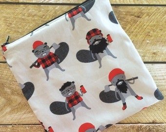Sandwich Bag - Kids - Beavers - Lunch Bag - Zippered Snack Bag - Snack Sack - Kids Lunch Bag - Reusable Snack Bag
