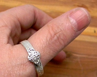 Celtic Knot Sterling Silver Patterned Band Ring 4.7mm wide
