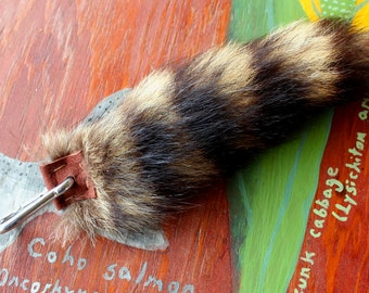 Raccoon tail - real eco-friendly wild raccoon fur totem dance tail on extra strong carabiner keychain for shamanic ritual and dance RS09