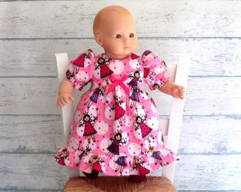 Babydoll Nightgown, Sparkly Slippers, Fairy Princess Flannel Pajamas, Pink Nightgown, 15 inch Doll Clothes