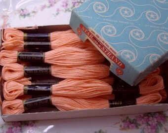Floss-Old Store Stock-Box 12 Vintage Star Embroidery Floss-Peachy Pink
