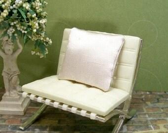 Silky Cream Pillow Cushion 1:12 Dollhouse Miniature Inch Scale Artisan
