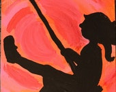 Swinging in the Sunset hand painted notecard