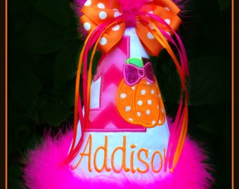 NEW DESIGN! , Pumpkin Birthday Hat, Fall Birthday Hat, Thanksgiving Birthday Hat, by Gingham Bunny