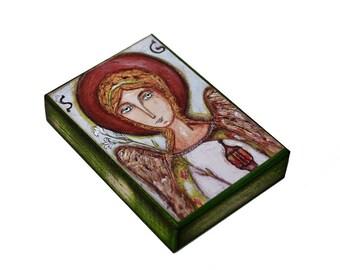 Saint Gabriel - Giclee print mounted on Wood (5 x 7 inches) Folk Art  by FLOR LARIOS