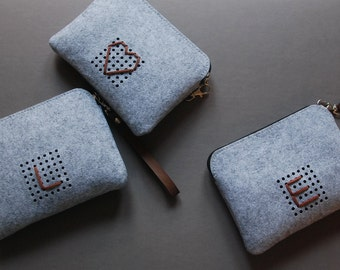 Monogram Techie Pouch, Power Cord Case, Felt Zipper Case, for Digital Accessories and others, Custom Made.