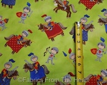 Little Knight's Quest Horses Shields on Green BY YARDS Northcott Cotton  Fabric