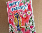 Happy Birthday Card, Owl Card, Owl Painting, Hand Painted envelope, Watercolor Card, Watercolor Bird, Birthday Owl, Watercolor Owl