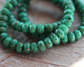 TEAL BABIES .. 30 Premium Picasso Czech Rondelle Glass Beads 3x5mm (5106-st)