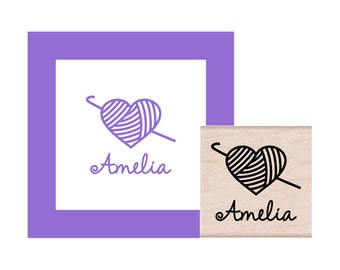 Crochet Heart Yarn Personalized Rubber Stamp