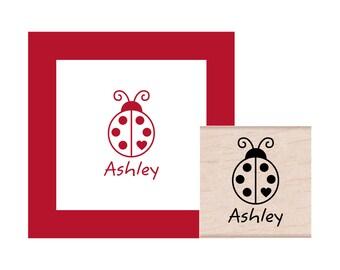 Personalized LadyBug Rubber Stamp