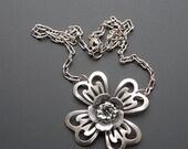 ON SALE Silver Flower Necklace, Silver Flower Pendant, Green Rhinestone Flower, Big Flower Pendant, Dogwood Flower Necklace, Vintage Style N