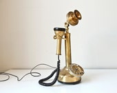 Vintage Brass Candlestick Phone Wired
