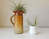 Mid Century Modern Ceramic Pitcher Vase, Fabulous Glaze, Studio Pottery