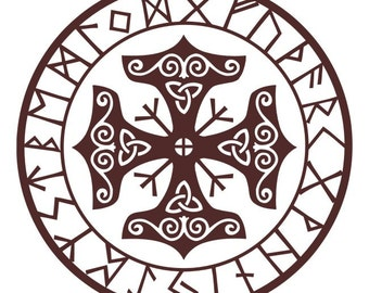 Viking protection runes talisman burgundy vinyl decal