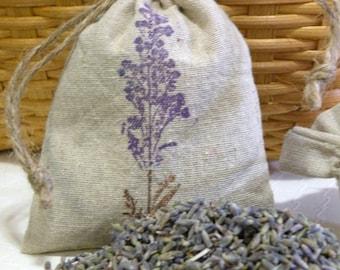 Lavender Sachet   -  4 x 6 Linen Drawstring Sachet Bag   - Scented Sachet  - Organic  - Two Ounce Dried Lavender