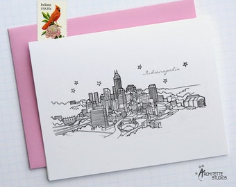 Indianapolis, Indiana - United States - City Skyline Series - Folded Cards (6)