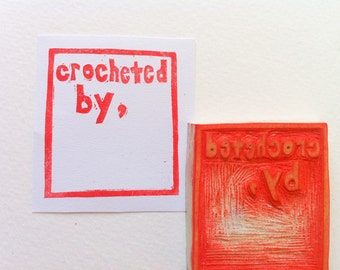 crocheted by stamp, handmade product stamp, label rubber stamp