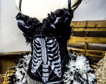 The Hecate Victoria Velvet  Burlesque Halloween Feather Noir Corset Costume S - M
