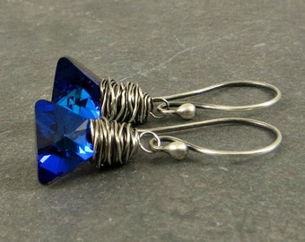 Triangle Crystal Earrings, Xilion Crystal Earring  Blue Crystal Earrings , Holiday Jewelry Gifts for Her