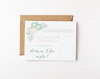 Bridal Party Invites Will You Walk Me Down the Aisle Will You Be My Bridesmaid Ask Eco Friendly Wedding Recycled Greeting Cards Floral Print