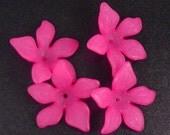 Acrylic Bead 8 Fuchsia Pink Flower Star Daisy 5-Petal Frosted 27mm x 7mm (1019luc27m4-3)