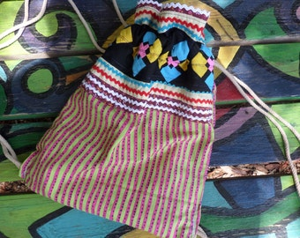 Hippie Backpack, Hippie Back Pack, hippie back sack, festival bag, boho back pack, drawstring back pack,  recycled fabric, small, D04