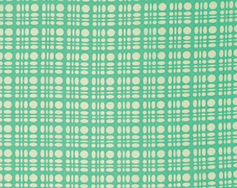 Heather Bailey Fabric by the Yard - Clementine - Dot Weave in Turquoise - Quilter's Cotton