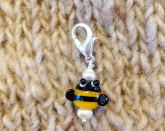Handmade Lampwork Bee Charm, Planner Charm, Stitch Marker, Filofax, Phone Charm, Zipper Pull