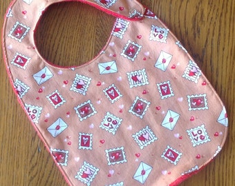 Tan Valentine Stamps and Letters Minky Baby/Toddler Bib