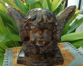 Cherub Bust Faux Bronze Antiqued Finish Heavy Table Library Decor / Shelf Decor / Goth Romantic Home Style / Angel Decor / Home Decor