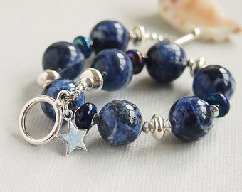 Blue Gemstone Bracelet, Artisan Lampwork, Beaded Bracelet, Sodalite, Sterling Silver - STARRY NIGHT