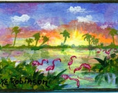 Flamingo Sunrise Original painting Collectible aceo art trade card Florida paradise KeROBinson