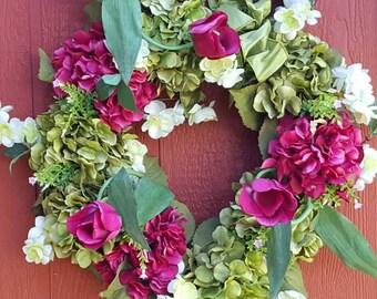 Hydrangea Wreath....Front Door Wreath....Living Room Wreath