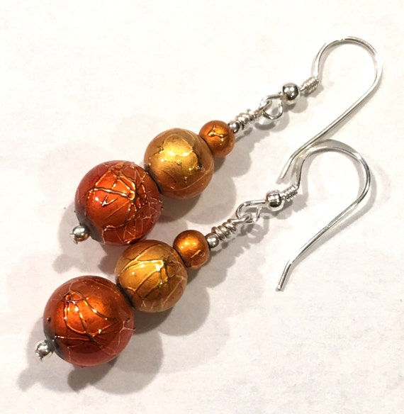 Orange and gold textured earrings Sterling Silver ear wires