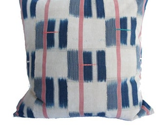 "LARGE Vintage African Indigo Striped Mudcloth 20"" | Nicks"
