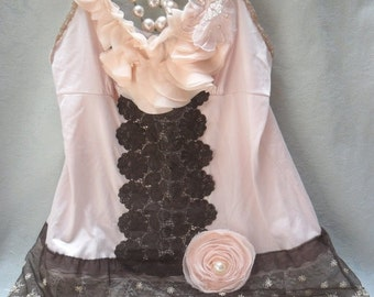 BIG Fall Sale 35% Off TUNIC Top Cami Romantic Tank Whimsical Fairylike Boho Fairy Princess - Coco, Buff and Ivory
